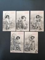 Bergeret. Le Petit Jardinier. Série Complète. 5 Cpa. Non Circulée. - Bergeret