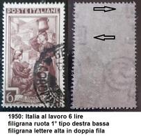# Filigrana Lettere In Doppia Fila Alta - 6 Lire Ruota 1° DB - Italia Al Lavoro - 1946-60: Gebraucht