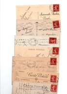 TIMBRE TYPE SEMEUSE CAMEE..30c ROUGE.....VOIR DETAIL......LOT DE 150 SUR CPA.....VOIR SCAN......LOT 10 - 1906-38 Semeuse Camée