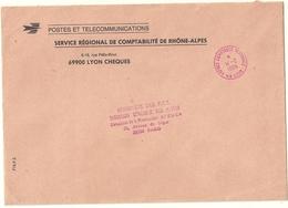 Lettre De La Poste Obliteration De Service Agence Comptable Regionale 69 Lyon En Rouge - Lettere In Franchigia Civile
