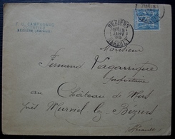 Béziers 1899 F.U. Campagnac Courtier (Hérault), Lettre Pour Murviel - 1877-1920: Période Semi Moderne