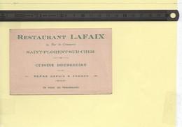 Carte De Visite Restaurant Lafaix à Saint-Florent-sur-Cher Cuisine Bourgeoise - Cartes De Visite