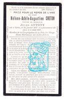 DP Hélène Adèle A. Creton ° Ieper 1851 † 1907 X Jules F. Antony - Devotion Images