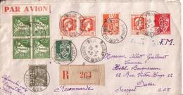 MAROC , SENEGAL - LETTRE POSTE NAVALE EN FM DU BUREAU NAVAL 56 DE CASABLANCA POUR DAKAR AVEC RECOMMANDE - 1945 - Briefe U. Dokumente
