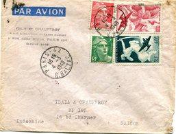FRANCE LETTRE PAR AVION DEPART PARIS 4-3-1948 R. BALZAC POUR LA COCHINCHINE (INDOCHINE) - Luftpost