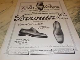 ANCIENNE PUBLICITE   CHAUSSURE PERROUIN FRERES DE NANTES 1924 - Advertising