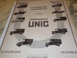 ANCIENNE PUBLICITE LA REINE DES  CAMIONNETTE UNIC   1924 - Trucks