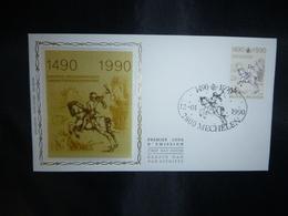 "BELG.1990 2350 FDC Zijde/soie (Mechelen)  : "" Postverbinding Innsbruck-Malines Liason Postale 1490-1990 "" - FDC"