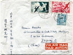 FRANCE LETTRE PAR AVION DEPART PARIS 17-11-1948 RUE LITTRE POUR PEIPING (CHINE) - Luftpost