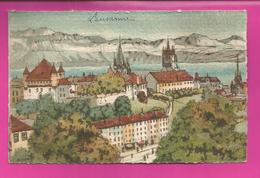 CP LAUSANNE Le Château, La Cathédrale Et Les Alpes, Illustré Par BARDAY - VD Vaud