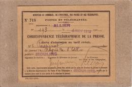 CORRESPONDANCE TELEGRAPHIQUE DE LA PRESSE POSTES ET TELEGRAPHES CARTE D' ADMISSION JOURNAL LE PROGRES DE L' ALLIER 1910 - Journaux