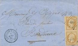 """EMPIRE ND 10c PAIRE Obl GC 644 + T15 """" CASTILLON - DORDOGNE 22/8/60 """" Gironde Sur Lettre > Bordeaux - Marcophilie (Lettres)"""