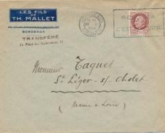 """1944 Obl Méca PROPAGANDE De BORDEAUX """" REBOISER C'EST EPARGNER """" Sur Lettre En-tête Affrt PETAIN 1f50 - WW2 - Postmark Collection (Covers)"""