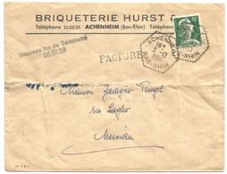 H481 - ACHENHEIM - 1958 - Bas Rhin - Entête BRIQUETERIE HURST - Tarif Facture - Marianne  MULLER - - Marcophilie (Lettres)