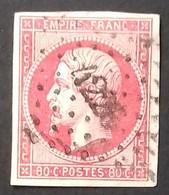 """N° 17 B 80 Ct Rose Non Dentelé COTE 60 € AVEC DE BELLES MARGES, OBLITERE Pc """"4226"""" De Nice. TB - 1853-1860 Napoléon III"""