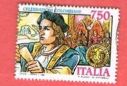 ITALIA REPUBBLICA  - SASS. 1959     -      1991  COLOMBO   -      USATO - 6. 1946-.. Repubblica