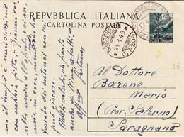 Bollo Conegliano Su Cartolina Postale L. 12 Su Cartoncino Grigio  - Bollo Frazionario Saragnano - 1946-.. République