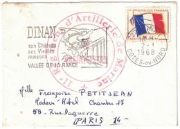 """1968 - CACHET """" 11e REGIMENT D'ARTILLERIE DE MARINE """" Sur LETTRE CAD DINAN COTES DU NORD FM FRANCHISE MILITAIRE DRAPEAU - 1961-...."""