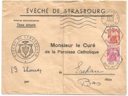 H500 - ESCHAU - 1955 - Bas Rhin - Entête EVECHE STRASBOURG - Taxe Simple Strasbourg Vers Eschau - - Marcophilie (Lettres)