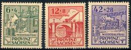 """ALLEMAGNE PROVINCE SAXE  1946  MNH  - """" RECONSTRUCTION : MAISONS, PONT, LOCOMOTIVE """"  -  3  VAL - Sachsen"""