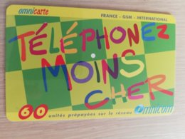 FRANCE/FRANKRIJK  OMNICARTE TELEPHONE MOINS CHER 60 UNITS PREPAID  USED    ** 1510** - Nachladekarten (Handy/SIM)