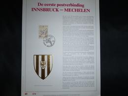 """BELG.1990 2391 :"""" Postverbinding Innsbruck-Mechelen """" NL.Luxe Kunstblad Geslagen In Fijn Goud 23 Karaat , 500 Exemplaren - FDC"""