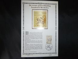 """BELG.1990 2391 : """" Postverbinding Innsbruck-Mechelen"""" NL.Luxe Kunstblad Geslagen In Fijn Goud 23 Karaat , 200 Exemplaren - FDC"""