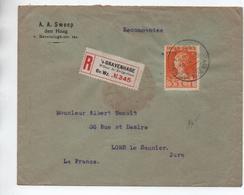 1924 - ENVELOPPE RECOMMANDEE De 'S GRAVENHAGE Pour LONS LE SAUNIER (JURA) Avec SEUL - Poststempel