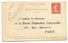"""ENTIER POSTAL REPIQUE """" Revue Financiere Universelle """" TYPE Semeuse - Letter Cards"""