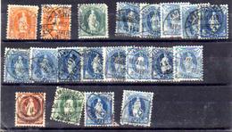 Suisse 1892-1904, Helvetia «Debout», Entre 71 Et 77 Ø (nuances De Couleurs), Cote Yv.79-euros - 1882-1906 Coat Of Arms, Standing Helvetia & UPU