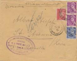 """PETAIN MERCURE Obl """" CAMP DE RIVESALTES 27/1/42 Pyrénées Orientales """" + CENSURE Sur Lettre - Internés Civils Juifs - Guerre De 1939-45"""