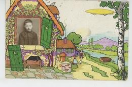 ENFANTS - ECOLE - Jolie Carte Fantaisie Photo Montage Petit écolier En Médaillon Dirigeable Et Chat Noir (écrite En 1924 - Portraits