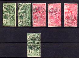 Suisse 1900, Union Postale Universelle, Entre 86 Et 89 Ob (nuances De Couleurs), Cote 18 € - 1882-1906 Coat Of Arms, Standing Helvetia & UPU
