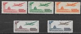 CHINE République Populaire 1951 - Poste Aérienne YT AE 45 à 49 ** Cote : 30 Euros - Neufs