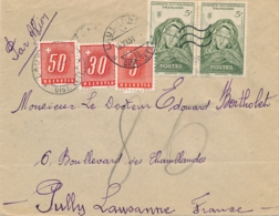 """SUISSE TAXE 5c + 30c + 50 C  Obl """" LAUSANNE 15/11/51 """" Sur Lettre AVION   Taxée Du Dahomey France AOF NATITINGOU - Postage Due"""