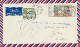 TAXE SUISSE 10c SEUL Sur Lettre AVION Affrt 20f 15 AOF Obl DAKAR SENEGAL 1956 - A.O.F. (1934-1959)