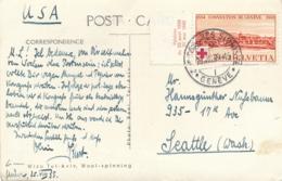 """Cachet """" CONGRES SIONISITE GENEVE 25/8/39 """" Obl CONVENTION DE GENEVE 1939  SEUL Sur CP > Seattle USA - Marcophilie"""