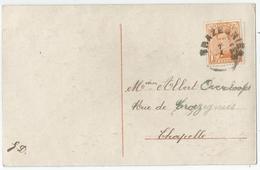 9Dp-448: TRAZEGNIES: Noodstempel Op N° 135 > Chapelle: Nieuwjaarskaartje. - 1919-1920  Cascos De Trinchera