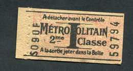 WW2 Ticket De Métro Paris 1941 à 1944 Tarif I 2ème Cl - RATP - Billet Ile-de-France WWII - Europa