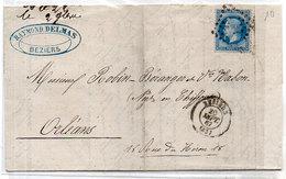 Lettre (LAC) Adressée De BEZIZES A ORLEANS - GC 472 Sur Yvert 29a -  (155 ASO) - 1849-1876: Période Classique