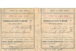 """Occupation Italienne De Menton 1942 - Rares Récépissés Du """"Commissariato Civile Di Mentone"""" Avec Timbre Fiscal Au Verso - Andere"""