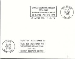 SPECIMEN SECAP - LE HAVRE - CHARLES ALEXANDRE LESUEUR - 17.5.78    /39 - 2 - Mechanical Postmarks (Advertisement)