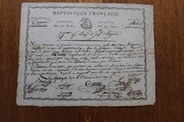 Republique Française  Armée D'Italie  27 Demi Brigade Morts Aux Tyrans Paix Au Peuple Bonnet Phrygien Avis De Deces - Historical Documents