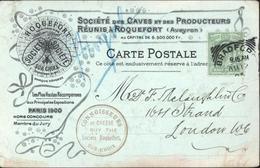 YT 106 Postage And Revenue Half Penny CAD Bradford AU 12 05 Représentant Anglais Caves Roquefort Société Fromage - 1902-1951 (Kings)