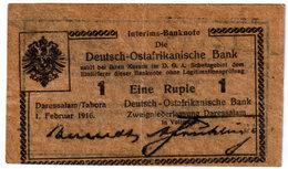 GERMAN EAST AFRICA , 1 RUPIE 1.2.1916. P-18b , TICK GREY BROWN PAPER , SERIE N - [12] Colonies & Banques étrangères
