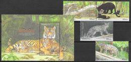 Malaysia 2013 MiNr. 2095 - 2098 (Block 177)  Animals CATS OF PRAY Tigers 4v + 1  MNH**  5.80€ - Felini