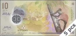 TWN - MALDIVE ISLANDS 26a - 10 Rufiyaa 2015 DEALERS LOT X 5 - Polymer - Prefix B UNC - Maldives