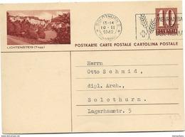 """231 - 74 - Entier Postal Avec Illustration """"Lichtensteig"""" Oblit Mécanique 1942 - Entiers Postaux"""