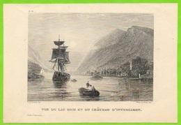 Fragment D'Hors-Texte - Vue Du Lac OICH Et Du Château D' INVERGAGARRY Castle Scotland Ecosse Voilier - Old Paper