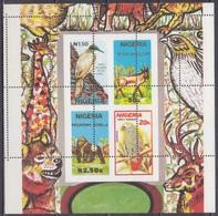 1990Nigeria561-564/B10CAError Perforation Wildlife - Papagayos